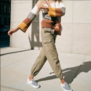 Madewell High Rise Cargo Fatigue Pants Olive Green